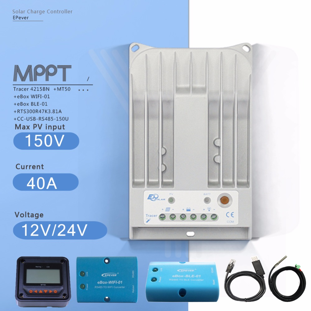 Tracer 4215BN MPPT 40A Solar Charge Controller with MT50 Meter and EBOX-BLE EBOX-WIFI Module and USB Cable Temperature Sensor mppt solar panel charge controller 20a tracer2215bn with mt50 remote meter a usb cable and ble function
