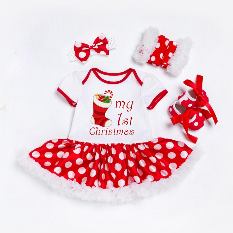 My First Christmas Newborn Clothes Set Baby Girls Dress Cotton Mesh Ruffle Girl Christening Gowns 4pcs Birthday 1st Dress Set цены онлайн