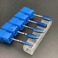 Fresa de carburo de tungsteno azul Nano revestimiento brocas de Metal para manicura accesorios de taladro de uñas Bur de carburo Dental