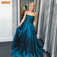 Graceful Slim Fit Blue Evening Dress Long 2019 Spaghetti Straps Lace Appliques A Line Formal Dresses Delicate Beach Evening Gown