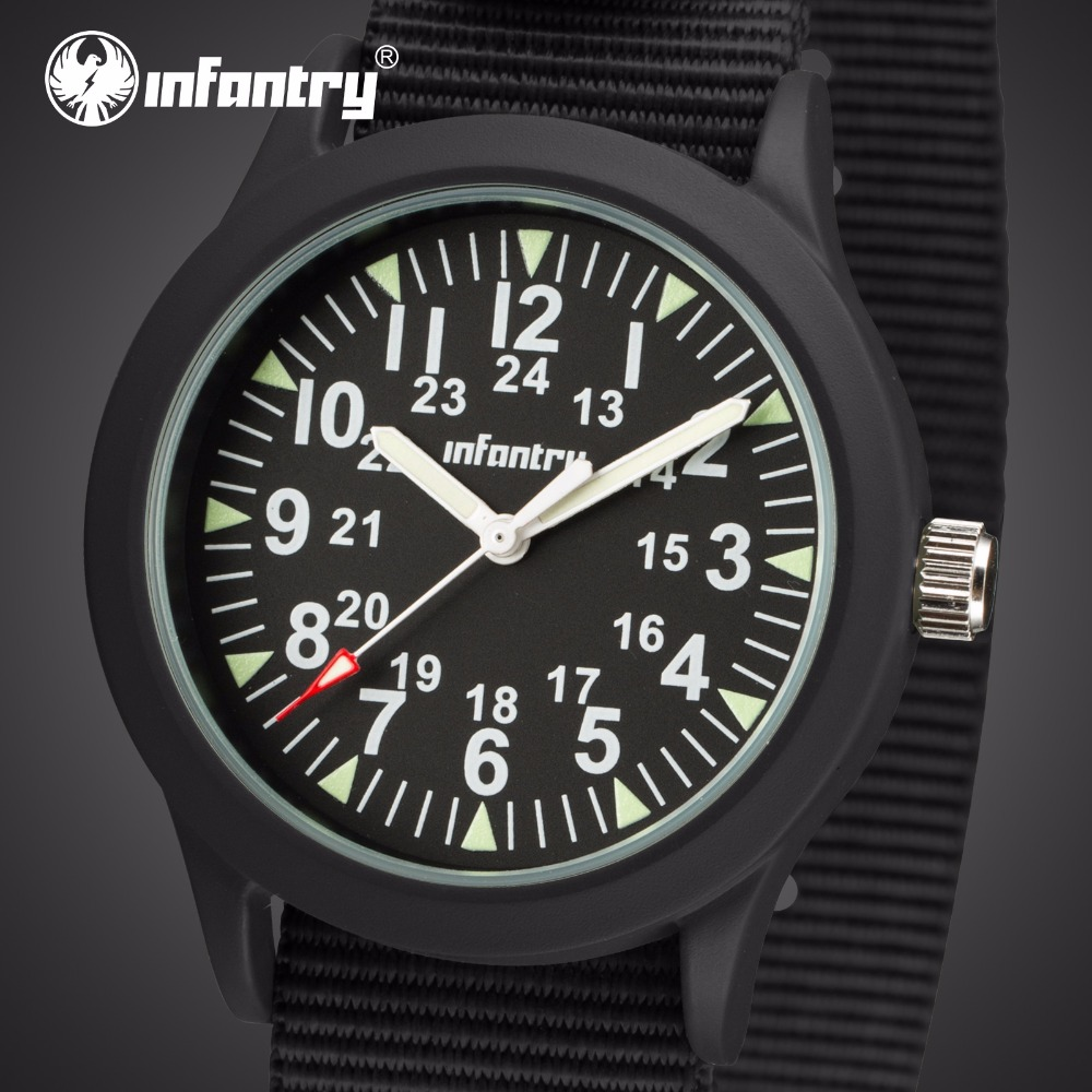 INFANTRY Mens Watches Top Brand Luxury Luminous Military Watch Men Army Watches for Men Black G10 Nato Strap Relogio Masculino