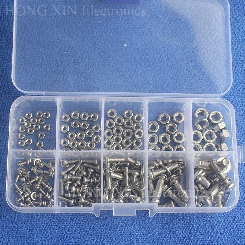 160pcs-set-stainless-steel-ss304-screws-an-head-screws-nuts-bolts-assortment-kit-m2-m25-m3-m4-m5
