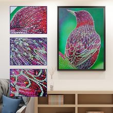 Bird Modeling Special Detail Design Diamond Painting DIY 5D Partial Drill Cross Stitch Crystal Kit Rectangle Decorative Painting(China)
