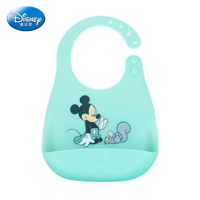 Baberos de bebé de Gel de sílice de Disney Mickey Burp paño de dibujos animados Minnie ajustable babero de comida de bebé Baberos infantiles