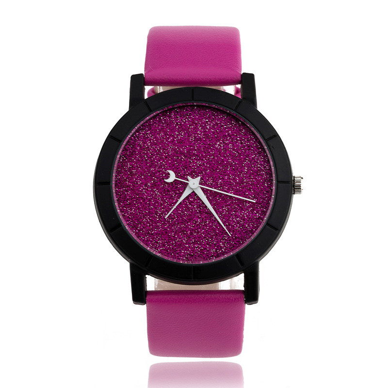 Ladies Casual Watch fashion Rhinestone Women Dress Watch Lovers' Leather Quartz Wristwatch Cute Moon Stars Design clock hours 13
