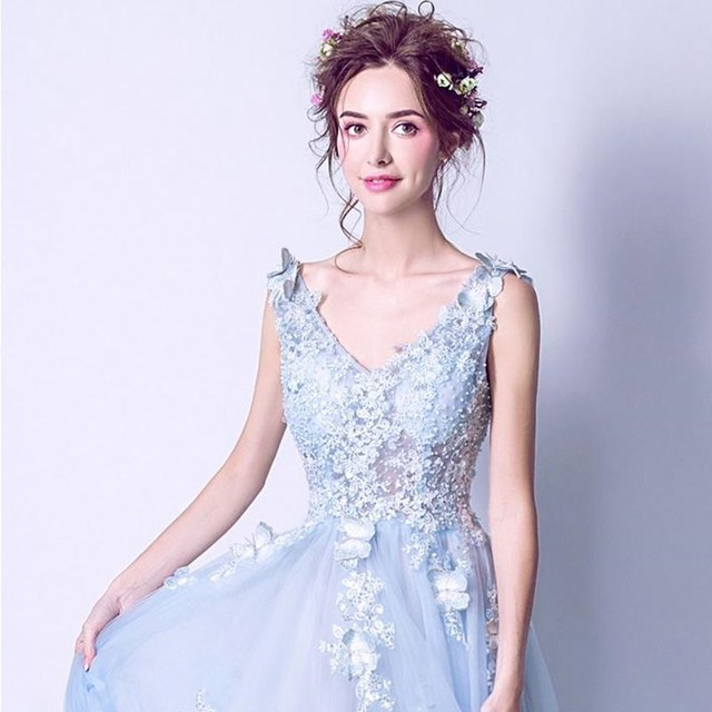 ruthshen Sexy Prom Dresses 2018 New V-Neck Embroidery Butterfly Long Evening Gowns See Through Light Blue Formal Dress 5