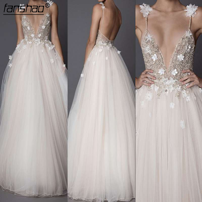 Evening Dresses For Wedding Beading Crystals Tulle  New Women Formal Party Gowns Vestido De Festa