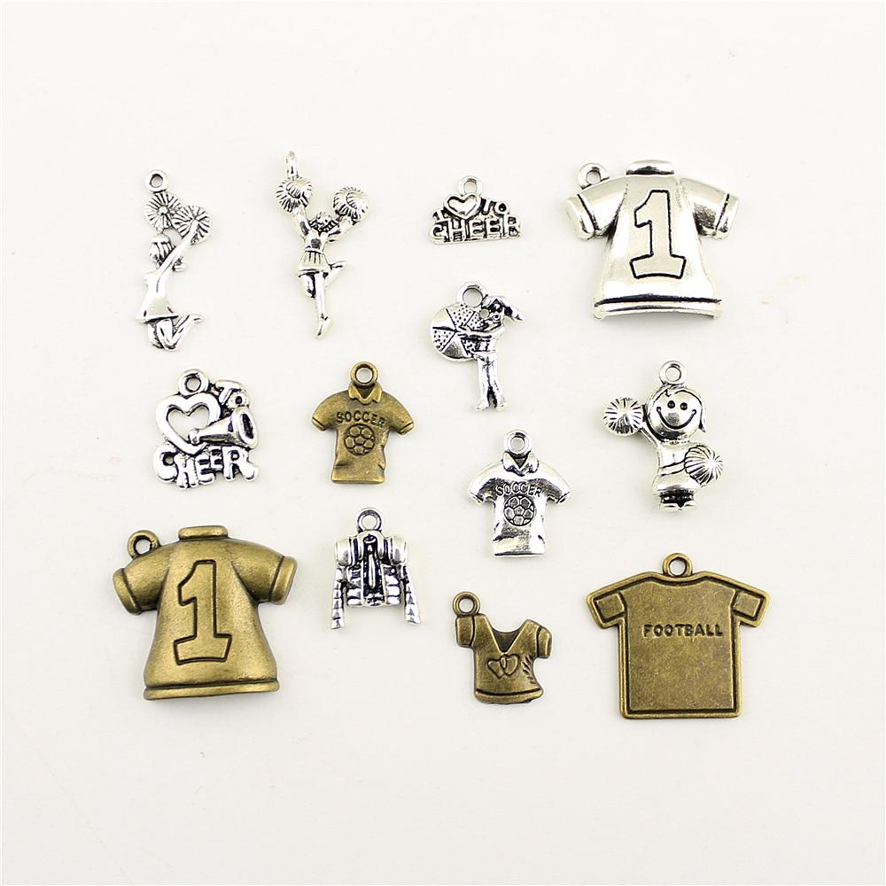 10 pçs jóias feminino esportes futebol rugby cheerleader venha charme diy jóias acessórios charme diy acessórios