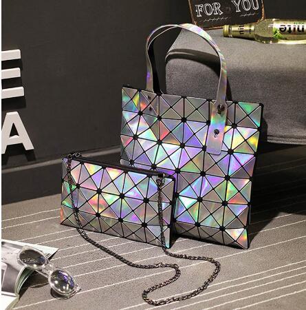 Maelove Women-bag Geometric Plaid Bag Casual Tote Chain Shoulder baobao bag female Composite style hologram laser silver bag
