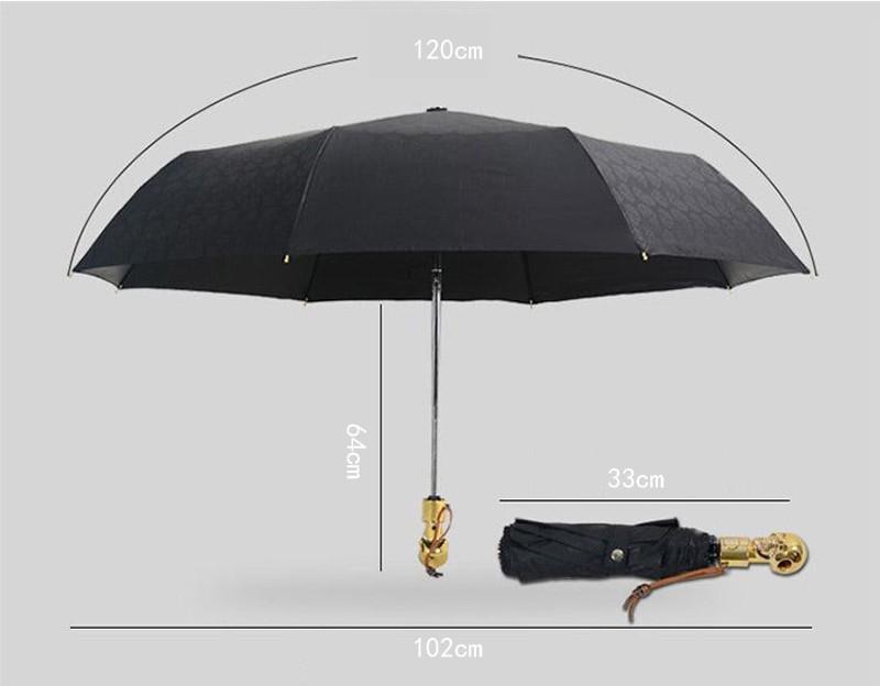 Personality Skull Head Full Automatic Umbrella Luxury Business Male Umbrella Fashion Black Coating Women Rain Sun 3 Folding Umbrella14