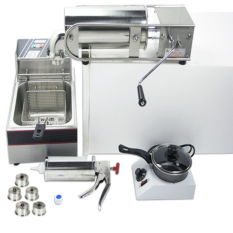 220V Commercial Churro Machine Including Single Cylinder Electric Fryer + Churros Cream Applier Jam Filler + Chocolate Furnace