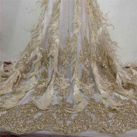 Graceful tulle material French net lace fabric with feather for elegant dress HNZ221(5yards/lot)