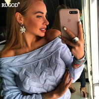 Rugod 2018 New Autumn Knitted Sweater Women Sexy Off Shoulder Long Sleeve Pullover Tops Fashional Women Sweater and Pullovers