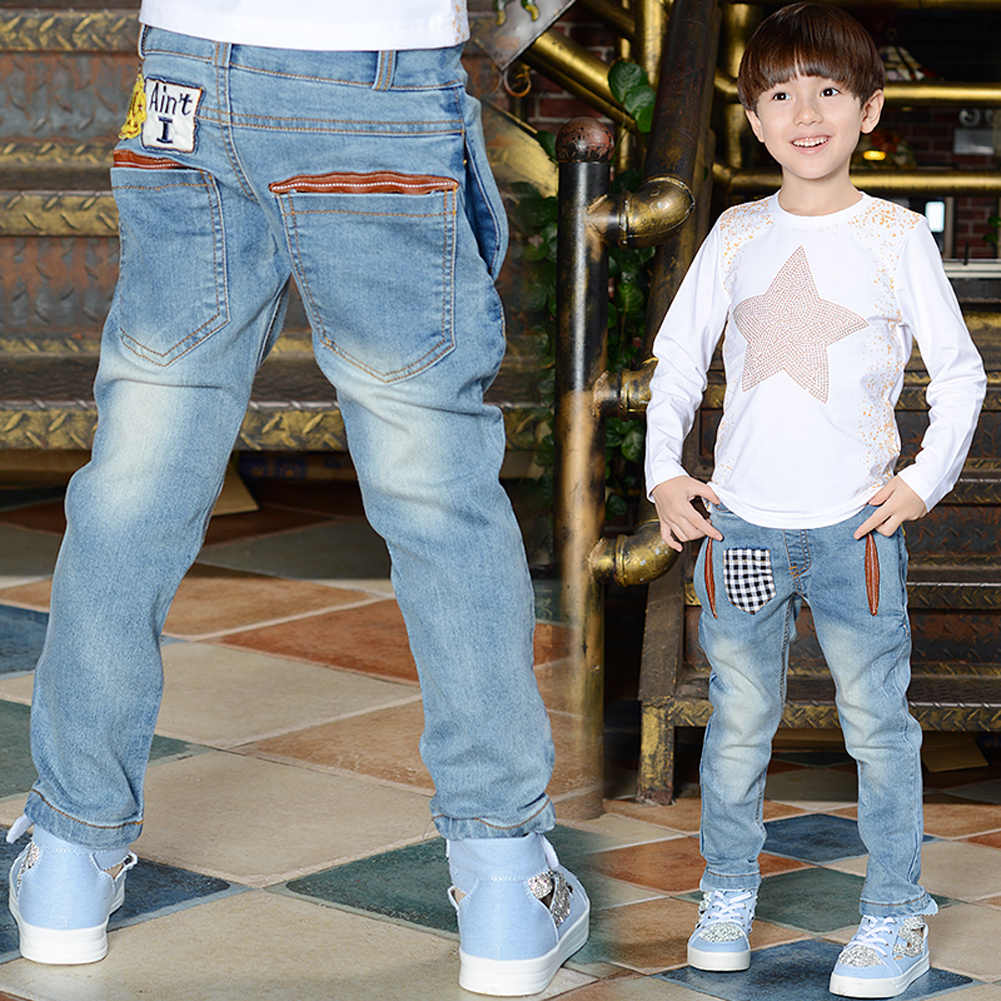 Children Boys Jeans Spring Fashion Kids Trousers Light Blue Denim Long Pants Jeans Baby Kids Boys Skinny Casual Pants for 4-11Y elf sack 2018 spring new pencil jeans hole skinny pants women basic casual anlke length pants washed elastic denim jeans