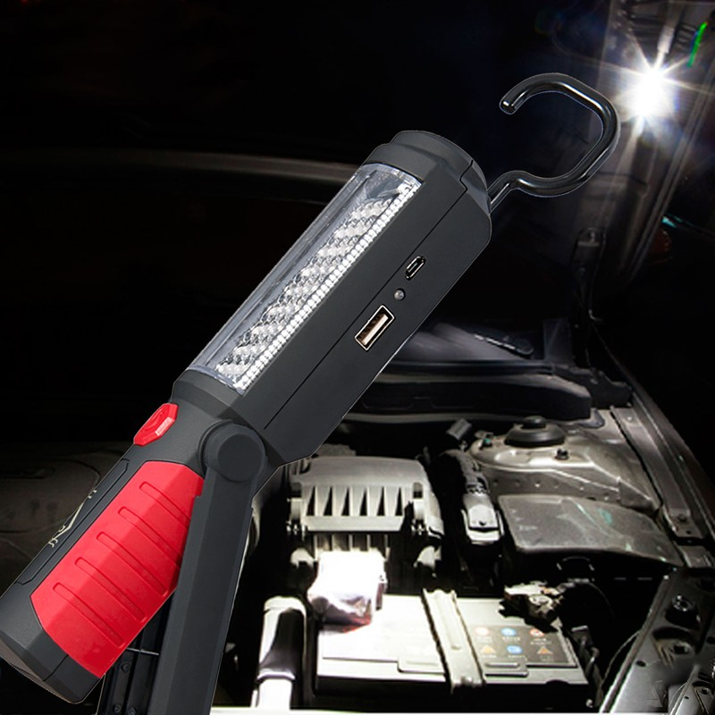 USB Red 36 + 5 LED Linterna Que Acampa Luz de Trabajo Magnético con 360 Grados G