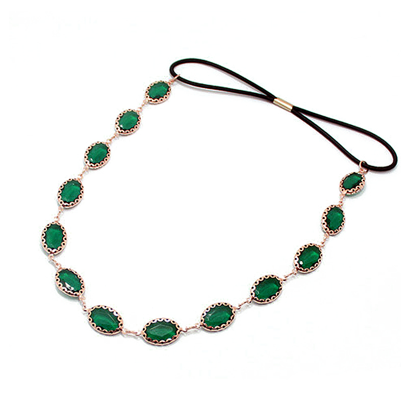 Head-Chain Hair-Band Jewelry Crystal-Headbands Rhinestone Boho Women Accessories Green