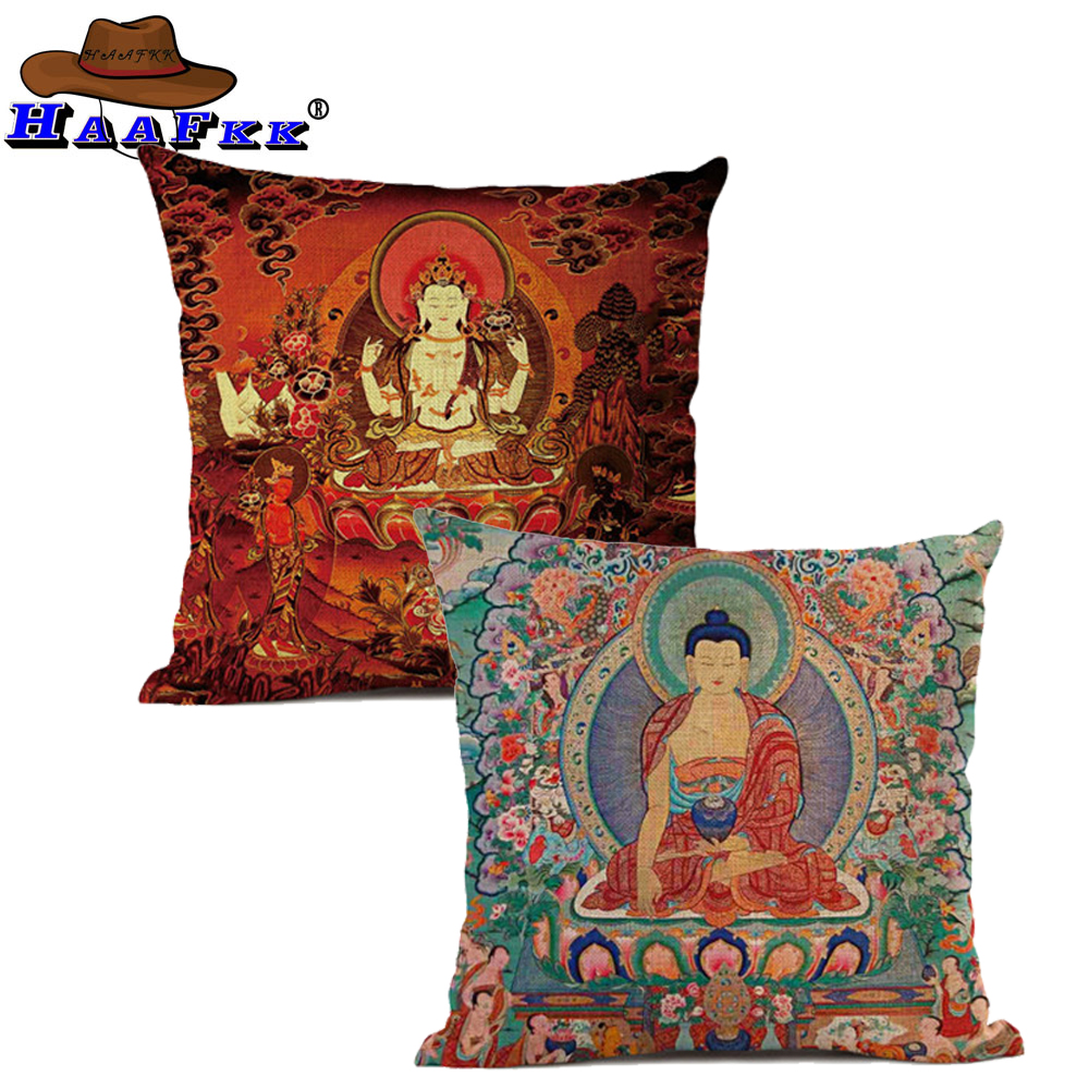 Chinese Thailand Style Cushion Cover Buddha Art Vintage Throw Pillow Covers Buddhism Interior Car Decorative Waist Pillows