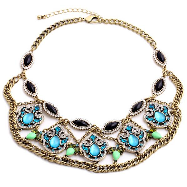 2015 verão novo luxo azul bohemia chunky declaração collar choker colar de charme da moda de jóias por atacado