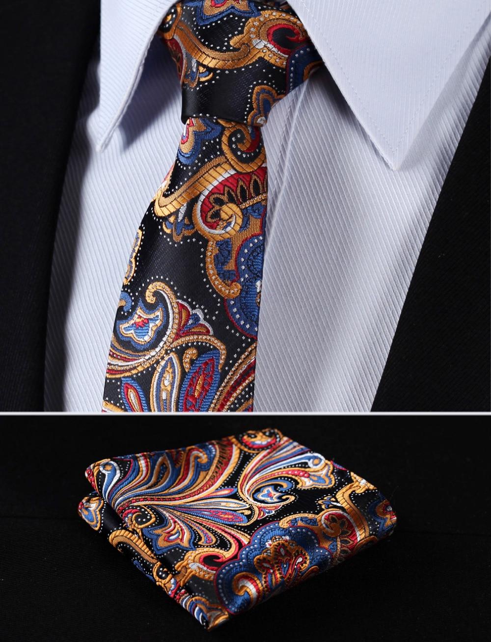 "TF451V7 Orange Navy Blue Floral 2.75"" 100%Silk Woven Slim Skinny Narrow Men Tie Necktie Handkerchief Pocket Square Suit Set"