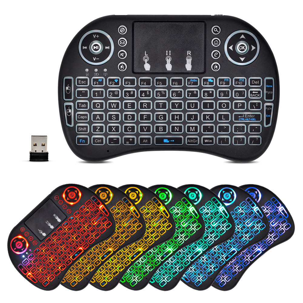 цены Mini Wireless Keyboard Touchpad 2.4G Russian English Colorful Backlit I8 Keyboard Touchpad for TV Box Laptop Android Air Mouse