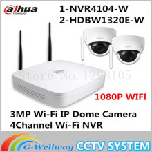 1080P Wi Fi KIT NVR4104 W 2 HDBW1320E W 3MP Wi Fi IP Dome Camera 4Channel