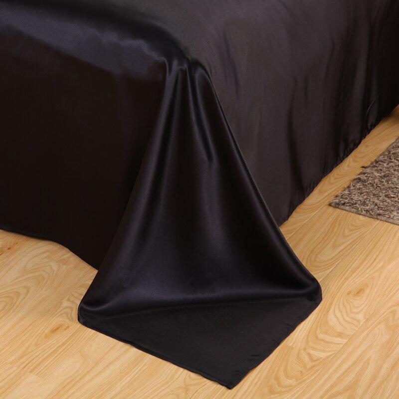 Slowdream Black Silk Satin Bedding Set Solid Color Bed Linen Silver Duvet Cover Set Soft Tencel Flat Sheet 3Pcs or 4Pcs in Bedding Sets from Home Garden