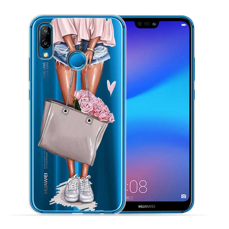De moda Zapatos de tacón alto Mujer chica teléfono caso para cubrir Huawei P30 Lite P30 Pro P20 Lite P8Lite P9Lite 2017 P inteligente P10 Lite P10 Etui
