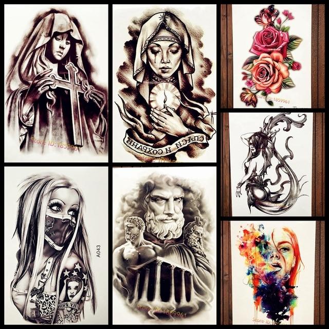 Pray Women Temporary Tattoo Sticker Sister Nun Waterproof Black Spray Fake Flash Tattoo Body Art Weeping Girl Tatoo Arm Sleeve