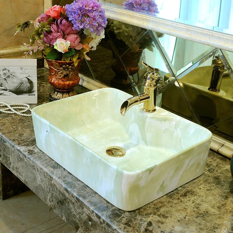 Europe Style Handmade Countertop Ceramic Wash Basin Bathroom Sink Porcelain Coloured Basins Rectangular In Sinks From Home