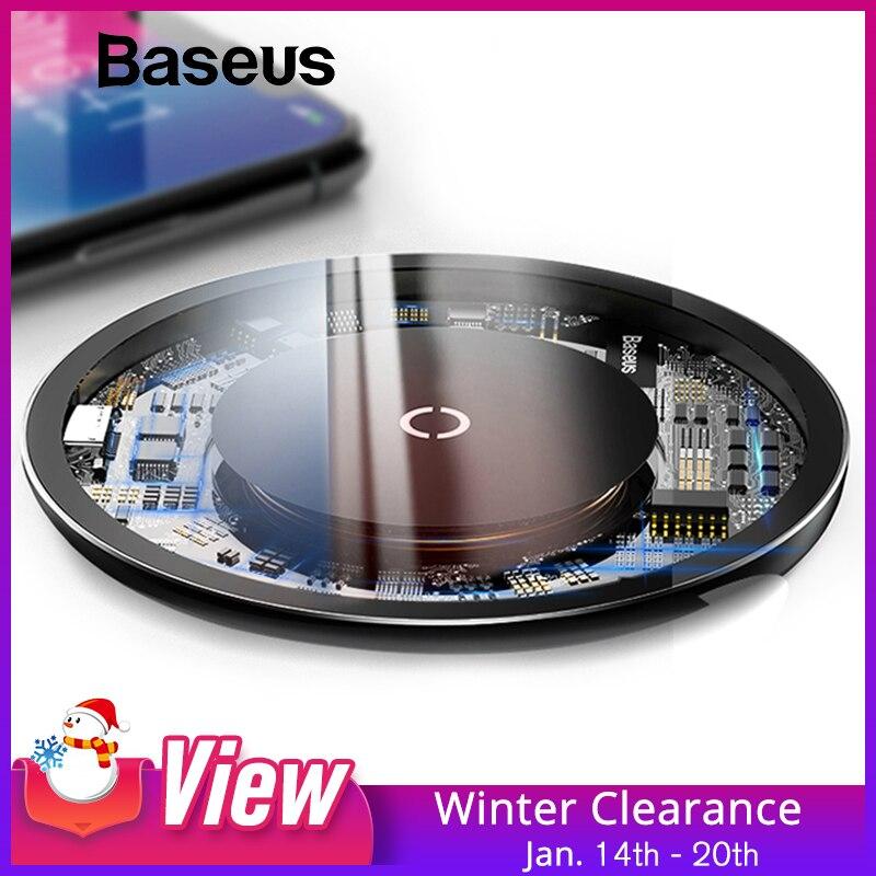 Baseus 10 W Qi Drahtlose Ladegerät für iPhone X/XS Max XR 8 Plus Sichtbar Element Drahtlose Aufladen pad für Samsung S8 S9/S9 + Hinweis 9