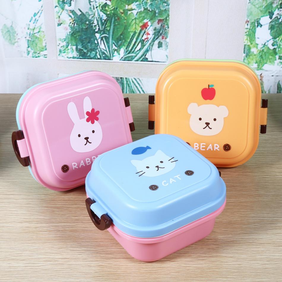 Lunch Box Print Lovely Cartoon Pattern Dual-layer Food Container Set for Children Candy Colors  цены