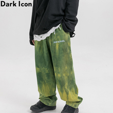 Dark Icon Corduroy Pants Men Tie Dyeing Loose Mens Letters Embroidery Trousers for Coffee / Green