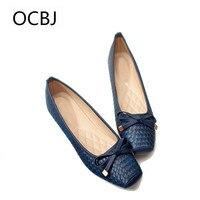 Big Size 41 Black Weave Flats Women Shoes Casual Autumn Square Head Single Shoes Bow Ballerina