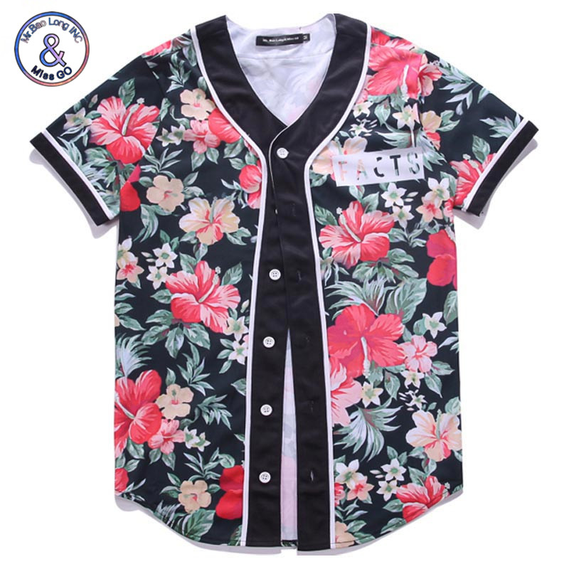 Mr.BaoLong Brand t shirt men/women single breasted v-neck Floral Printed 3d t-shirt short sleeve jersey tops Baseball clothing