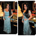 2015 New Design Long Sleeve Fashionable Sheer Lace Blue Long Celebrity Dresses Affordable Red Carpet Dress