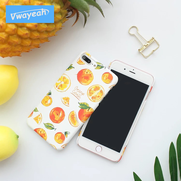 Ins Hot Yellow Orange Tangerine Pure Art Wind For iPhone 6 7 8 Plus Fresh Color Child-Free Style Brisk Summer Green Leaves Case