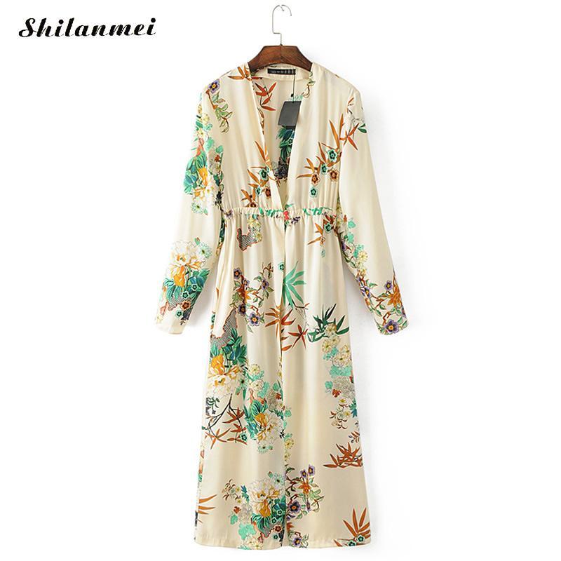 Hawaii Women Summer Beach Kimono Cardigan Long Sleeve Deep V Floral Long Blouse Shirt American Style Blusas Mujer De Moda 2018
