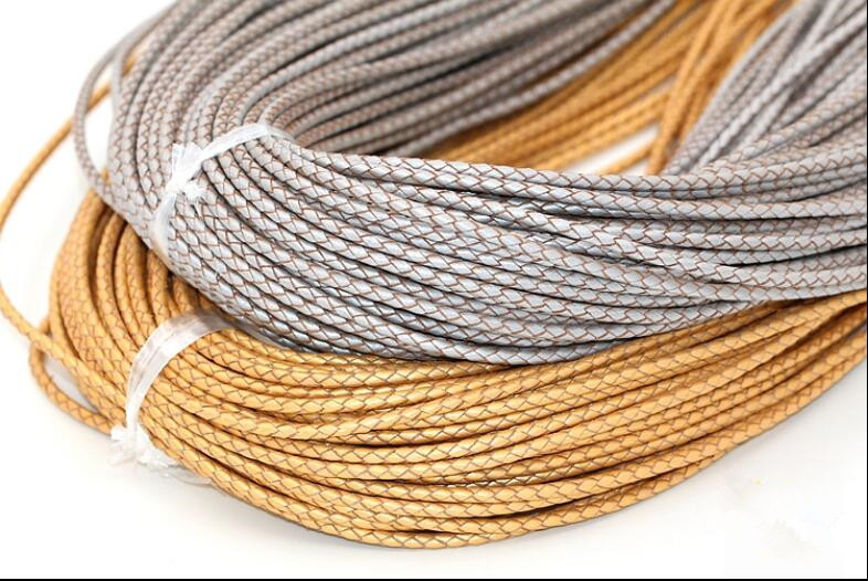 2meters 3mm Round Braided Genuine Leather Cord Real Cow Leather Cords String Rope Bracelet Necklace Findings Diy Jewelry Making in Jewelry Findings Components from Jewelry Accessories
