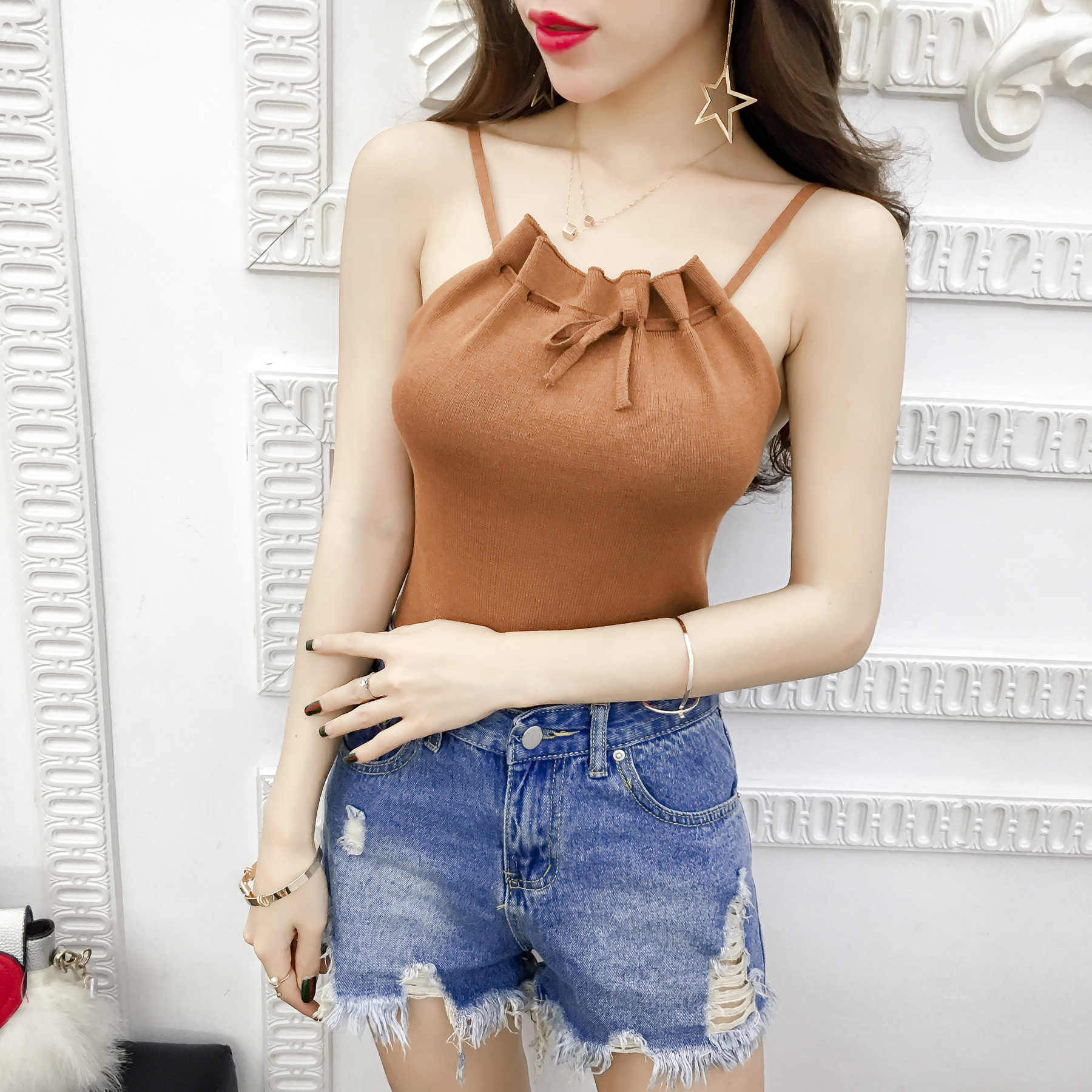 fb31abd9c21 Summer Women Fashion Slim Knitting Off-shoulder Pleated Camis Tops Girl  Knitted Tank Tops Sleeveless