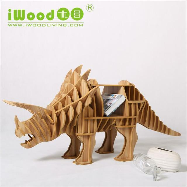 Artística europeia Nordic enfeites artesanais casa mobiliário doméstico criativo de madeira artesanato em madeira simulação dinossauro frete grátis