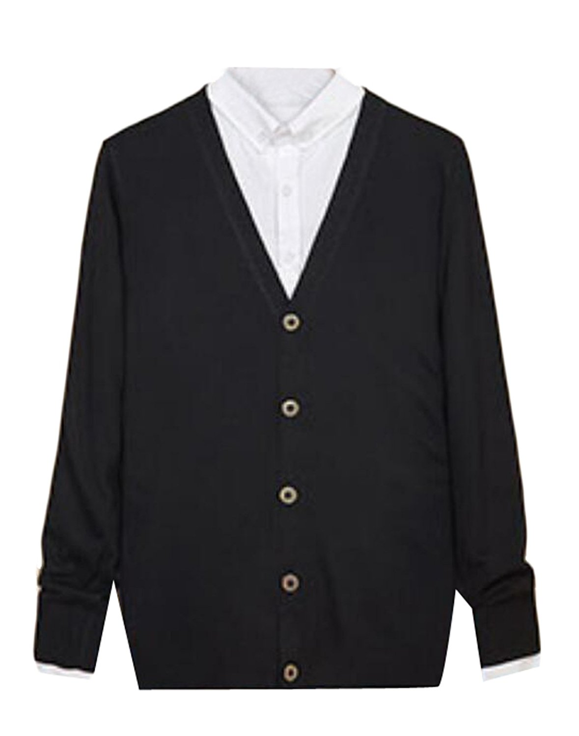 GAGA Men Long Sleeve Button Down V Neck Cardigan Sweater on ...