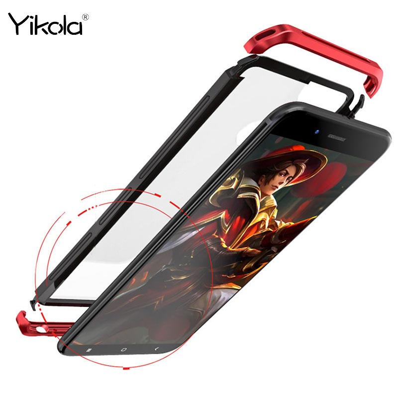 10Pcs For millet 5X case Luxury Metal Bumper+Tempered Glass Cover Case For iPhone x 8 7 6s Plus Shell For Samsung S8 Plus case