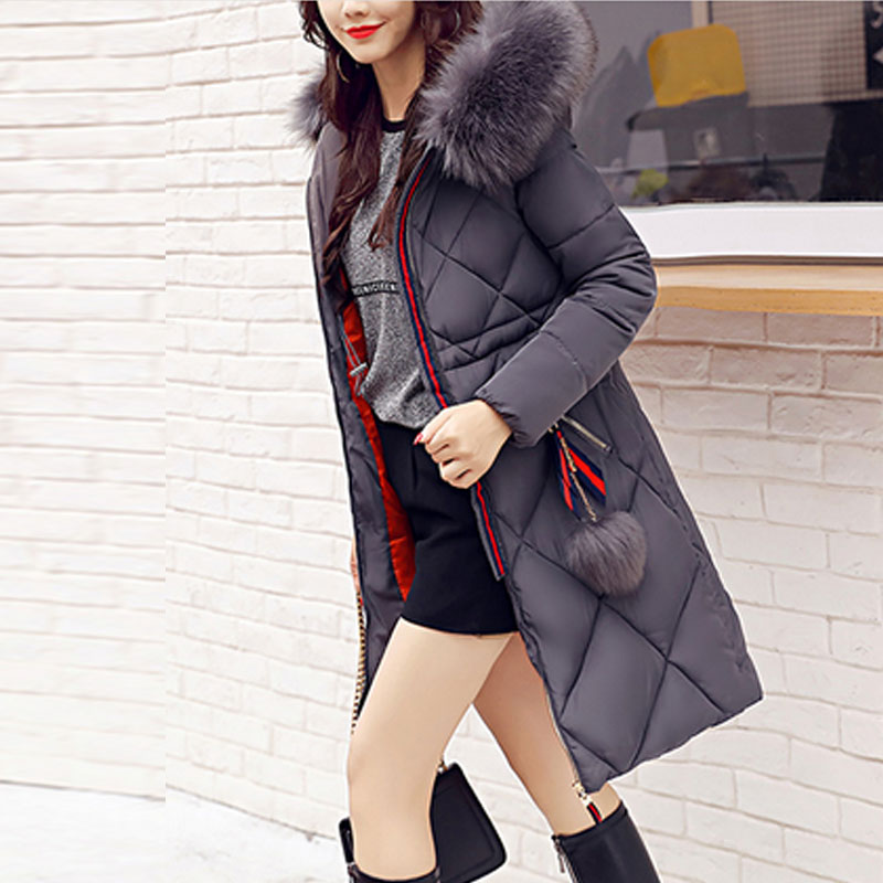 Fashion 2017 Down Jacket Coat Female Long Cotton Padded Jackets for Women Large Fur Winter Parka Spring Coats Slim Waist Parkas high quality winter coats women long down coat 2016 new fashion women s winter jacket large fur collar parka female jackets y750