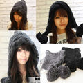 New Fashion Women Korean Winter Warm Bomber hats with earflaps Crochet Knit Ski Beanie Wool Peaked Hat Cap