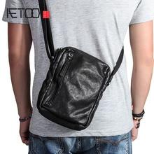 все цены на AETOO Casual shoulder bag men's leather small bag retro  youth vertical men's bag first layer leather Messenger bag tide онлайн