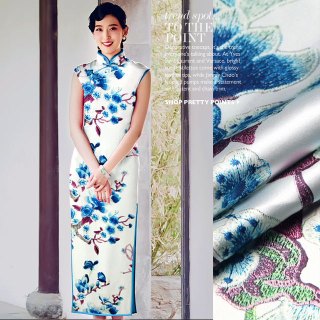 562d78d414 jenny silkdouble printing silk fabric silk cloth LB stretch satin skirt dress  material [water]