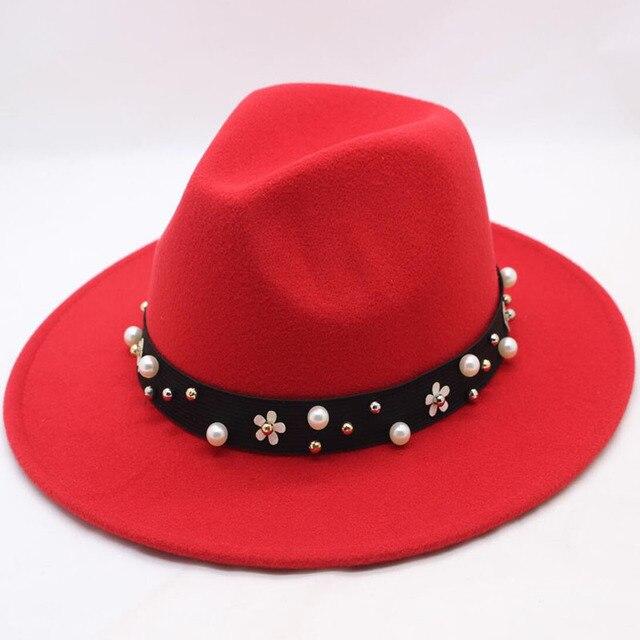SUOGRY Wool Felt Felt Hats Winter Autumn Women Ladies Pearl Belt Cowboy Hat  Jazz Fashion Hat afcaecb3dd2