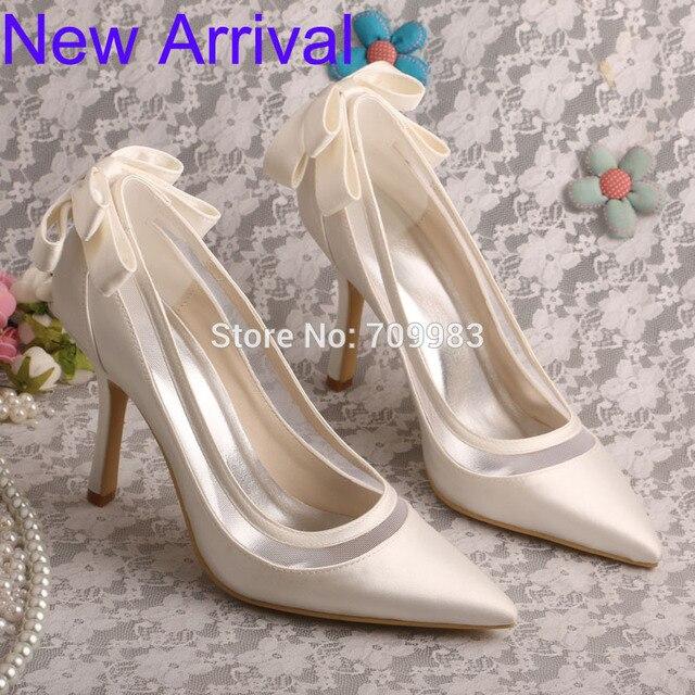 Wedopus Stiletto Calcanhar Dedo Apontado Arco Mulheres Bombas de Marfim Sapatos de Noiva de Cetim