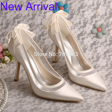 Wedopus Stiletto Heel Pointed Toe Bow Women Pumps Ivory Bridal Wedding Shoes Satin