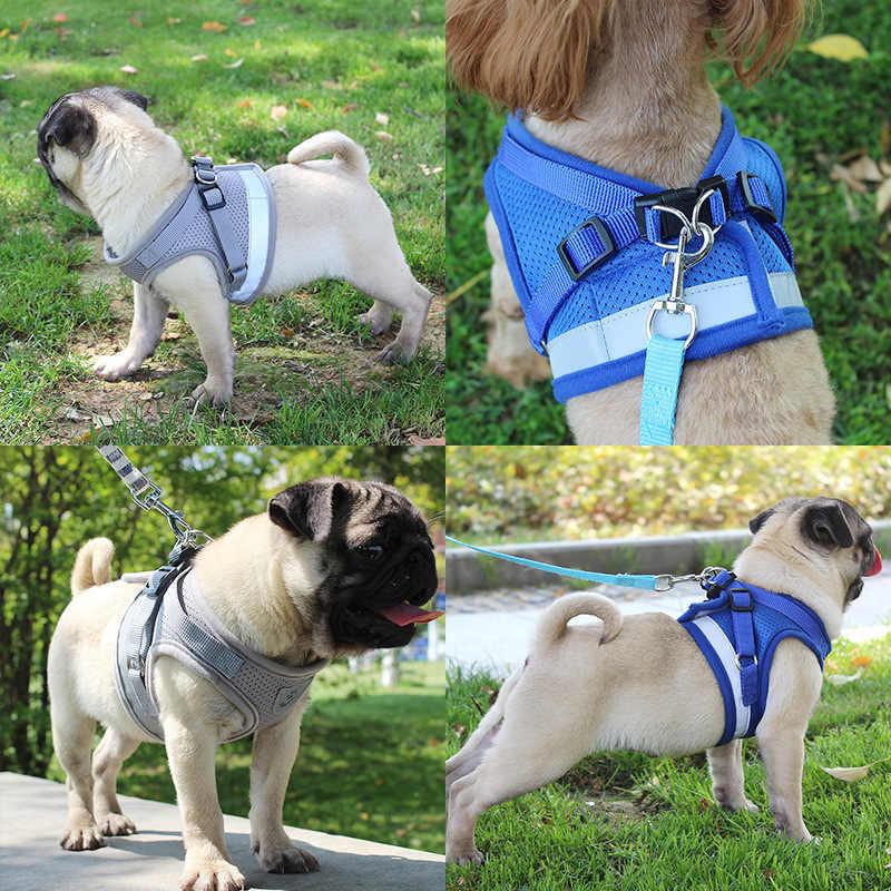 Anjing Harness untuk Chihuahua Pug Kecil Medium Anjing Nilon Mesh Kucing Anjing Memanfaatkan Rompi Reflektif Berjalan Lead Tali Petshop Set
